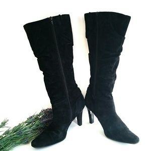 "White Mountain Black Suede Slouch Boots | 3"" Heel"